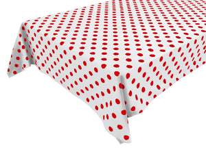 Cotton Polka Dots Tablecloth Red Dots on White