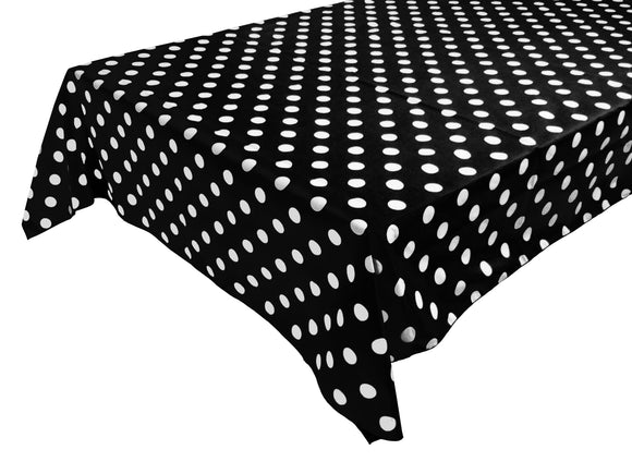 Cotton Polka Dots Tablecloth White Dots on Black