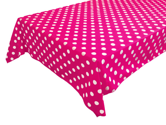 Cotton Polka Dots Tablecloth White Dots on Fuchsia