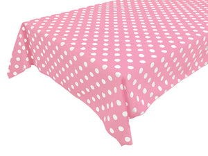 Cotton Tablecloth Polka Dots Print / White Dots on Pink