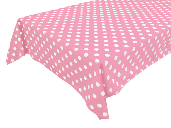 Cotton Polka Dots Tablecloth White Dots on Pink