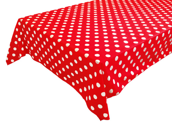 Cotton Polka Dots Tablecloth White Dots on Red
