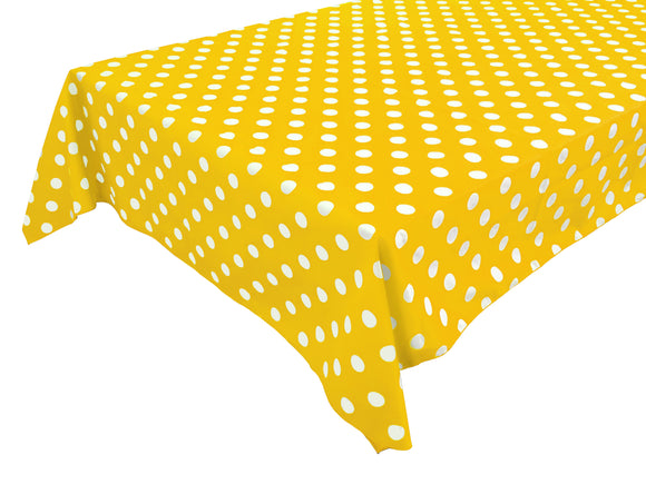 Cotton Polka Dots Tablecloth White Dots on Yellow