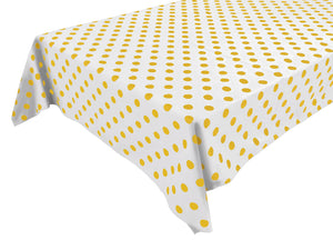Cotton Polka Dots Tablecloth Yellow Dots on White