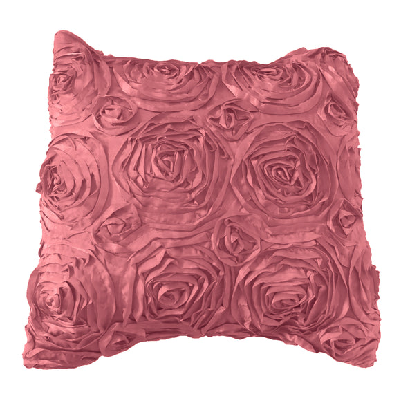 Satin Rosette Decorative Throw Pillow/Sham Cushion Cover Dusty Rose
