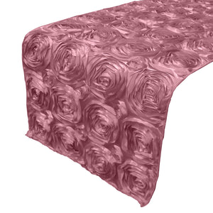 Satin Rosette Table Runner Raised Roses Dusty Rose