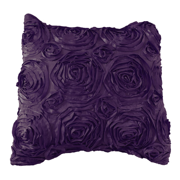 Satin Rosette Decorative Throw Pillow/Sham Cushion Cover Eggplant