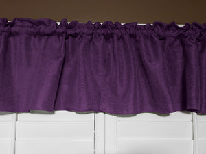 "Faux Burlap Window Valance 58"" Wide Eggplant"