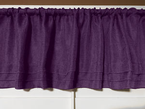 "Faux Burlap Window Valance 58"" Wide with Pleated Ruffles Eggplant"