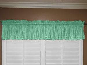 "Cotton Eyelet Window Valance 58"" Wide Aqua"