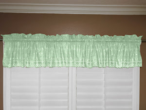 "Cotton Eyelet Window Valance 58"" Wide Light Green"
