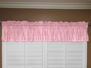 "Cotton Eyelet Window Valance 58"" Wide Light Pink"