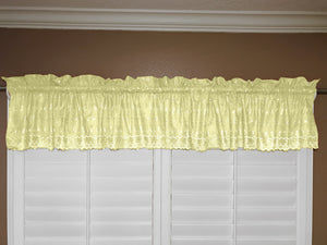 "Cotton Eyelet Window Valance 58"" Wide Light Yellow"