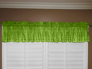"Cotton Eyelet Window Valance 58"" Wide Lime Green"