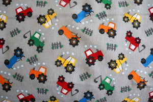 "100% Cotton Flannel Children's Prints Window Valance 42"" Wide Farm Tractors Gray"