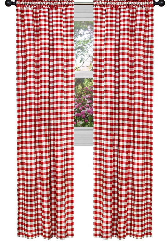 Poplin Gingham Checkered Window Curtain 56 Inch Wide Fire Red