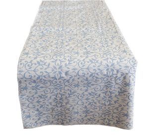 Plastic Table Runner Non-Slip Flannel Backing - Floral Vines Blue