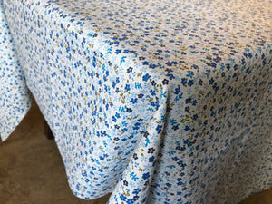 Cotton Small Flowers Tablecloth Blue