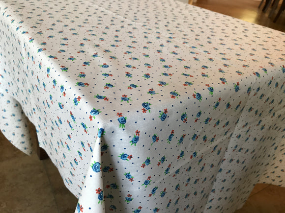 Cotton Flowers and Dots Tablecloth Blue