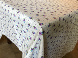 Cotton Flowers and Dots Tablecloth Purple