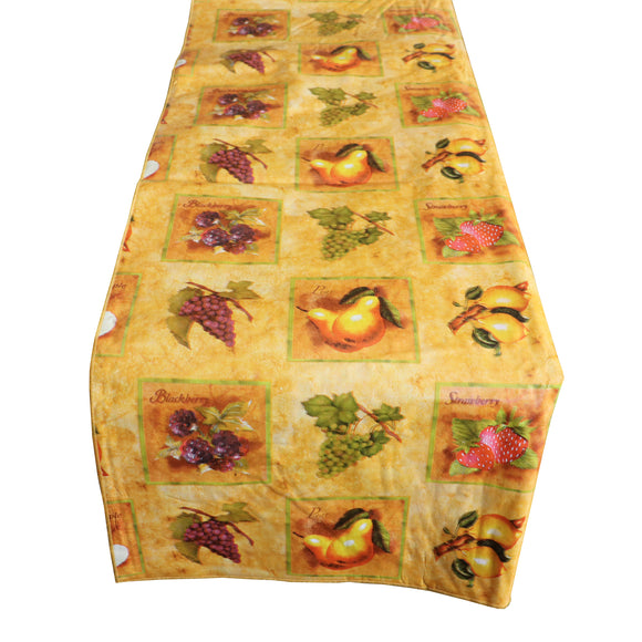 Plastic Table Runner Non-Slip Flannel Backing - Fruit Slices