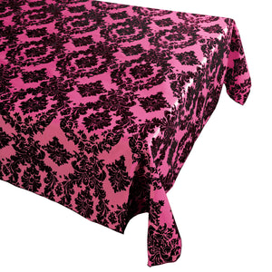 Flocking Damask Taffeta Tablecloth Black on Fuchsia