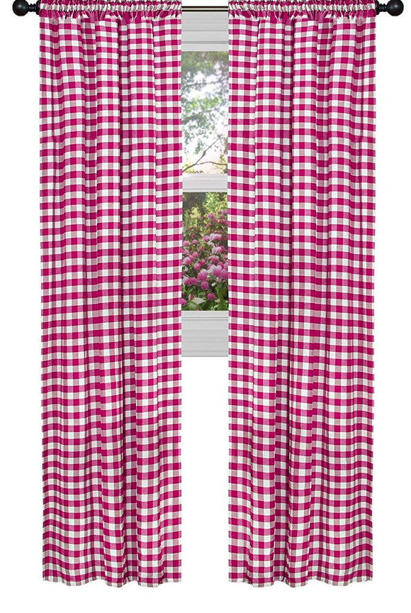Poplin Gingham Checkered Window Curtain 56 Inch Wide Fuchsia