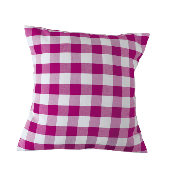 Gingham Checkered Decorative Throw Pillow/Sham Cushion Cover Fuchsia & White