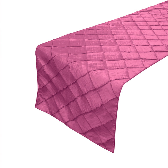 Pintuck Taffeta Table Runner Fuchsia