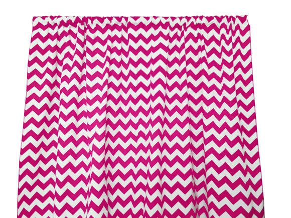 Cotton Zig-zag Chevron Window Curtain 58 Inch Wide Fuchsia