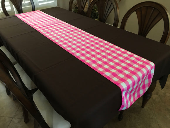 Poplin Table Runner Gingham Checkered Fuchsia