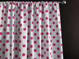Cotton Polka Dots Window Curtain 58 Inch Wide Fuchsia on White