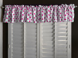 "Cotton Polka Dots Window Valance 58"" Wide Fuchsia on White"