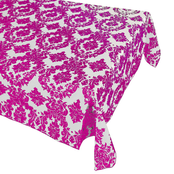 Flocking Damask Taffeta Tablecloth Fuchsia on White