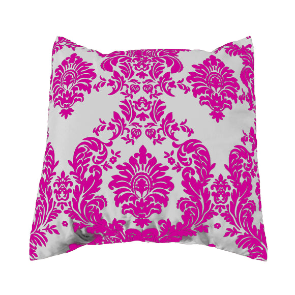 Flocked Damask Decorative Throw Pillow/Sham Cushion Cover Fuchsia on White