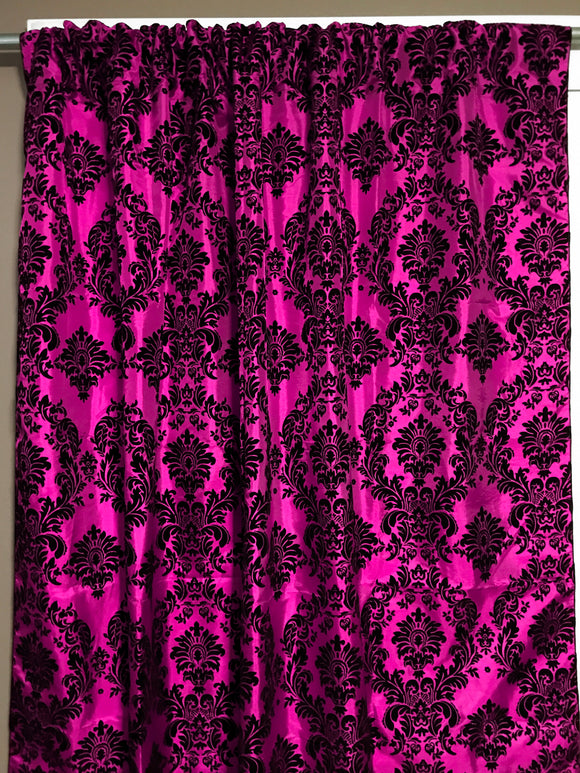 Flocking Damask Taffeta Window Curtain 56 Inch Wide Fuchsia