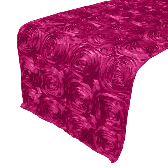 Satin Rosette Table Runner Raised Roses Fuchsia