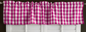 "Poplin Gingham Checkered Window Valance 58"" Wide Fuchsia"