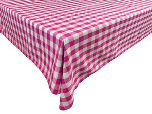Poplin Gingham Checkered Plaid Tablecloth Fuchsia