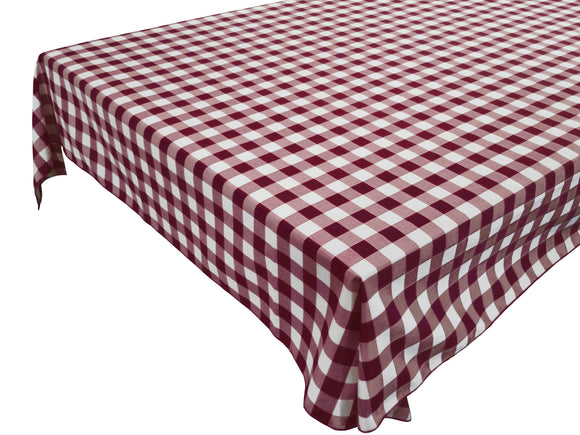 Cotton Gingham Checkered Tablecloth Burgundy