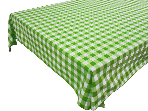 Cotton Gingham Checkered Tablecloth Lime Green