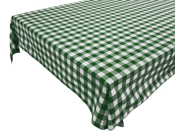 Cotton Gingham Checkered Tablecloth Hunter Green