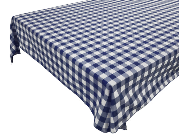Cotton Gingham Checkered Tablecloth Navy