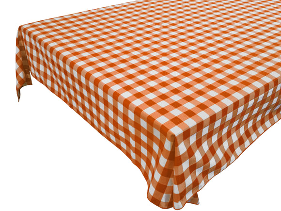 Cotton Gingham Checkered Tablecloth Orange