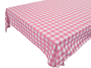 Cotton Gingham Checkered Tablecloth Pink