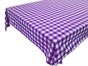 Cotton Gingham Checkered Tablecloth Purple