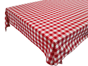 Cotton Gingham Checkered Tablecloth Red
