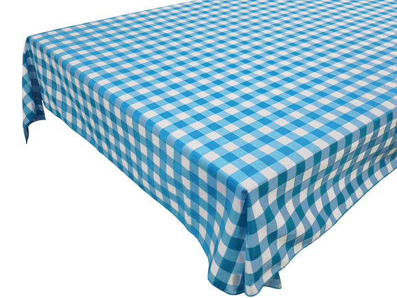 Cotton Gingham Checkered Tablecloth Turquoise