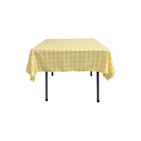 Cotton Gingham Checkered Tablecloth Yellow
