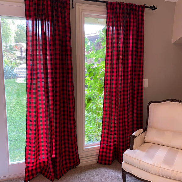 Poplin Gingham Checkered Window Curtain 56 Inch Wide Black and Red